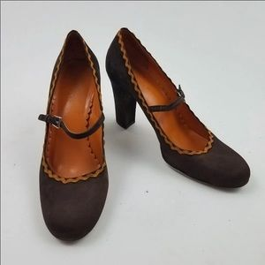 FRANCO SARTO Suede Mary Jane Brown Orange Heel 8.5